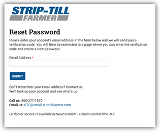 Reset Password Request Screen