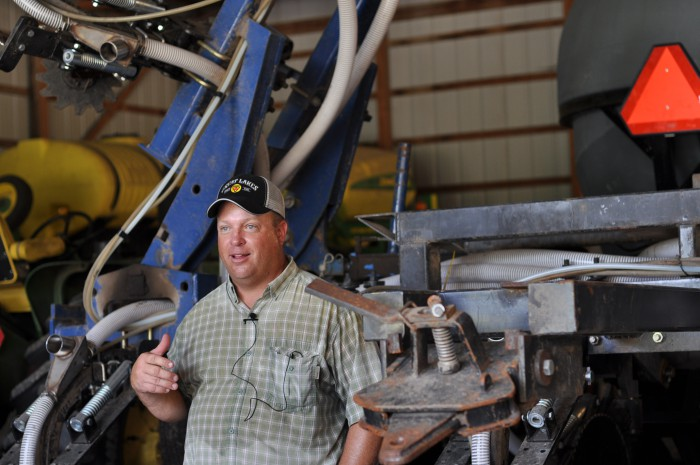 SOLD ON STRIP-TILL. After sharing a 16-row Progressive 6200 rig with a neighbor, Bethany, Ill., farmer Mike Bland purchased his own 12-row Redball unit and recently converted an old Thurston Mfg./Blu-Jet anhydrous bar to a second 12-row strip-till rig to cover more acres in less time building fall strips.