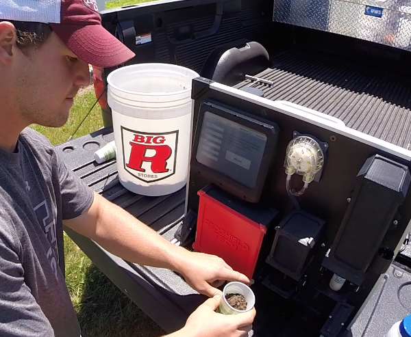 TIMELY TESTING. SoilSCAN 360, a mobile soil-testing unit which retails for about $6,500 — provides a 5-minute analysis of soil nutrients, including in-field nitrate readings and customized variable-rate prescriptions for nitrogen, water, phosphorus and ammonia. Photo courtesy of 360 Yield Center
